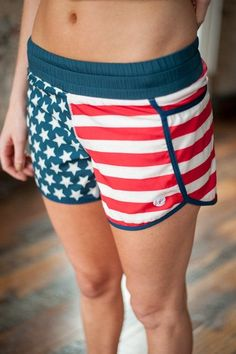 Pin for Later: Get in the Patriotic Spirit With All-American Red, White, and Blue Activewear Harper Knit USA Shorts Harper Knit USA Shorts ($50)