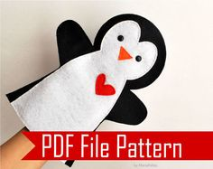 Penguin Hand Puppet for Small Hand, PDF Sewing Pattern. This cute Hand Puppet toy is inches tall and approx. This pattern it is for a small hand puppet, you can scale the design t Glove Puppets, Felt Puppets, Felt Finger Puppets, Puppet Toys, Hand Puppets, Sewing Toys, Sewing Crafts, Sewing Projects, Puppet Patterns