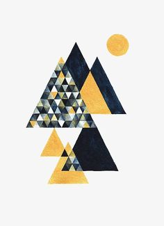 Items similar to Mountain - Triangle Triangular Geometry Geometric Abstract Modern Watercolor Drawing Illustration Print - Golden & Indigo Navy Blue on Etsy Geometric Wall, Geometric Designs, Geometric Shapes, Quilt Modernen, Geometry Art, Watercolor Drawing, Grafik Design, Design Art, Contemporary Art