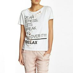 """Dear Stress--Relax"" Distressed Tee This is definitely my favorite distressed tee--I actually have one for myself in the same design with different wording. The fabric is so broken in and comfy. Front graphic says ""Dear Stress, Let's Break Up. I'm Over it! Relax."" Short sleeve. White. Size small. Should fit a medium. Bust: 19.5"" across front. Length: 23.5"" shoulder to hem. TOV Tops Tees - Short Sleeve"