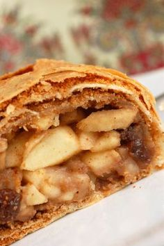 """This is the kind my mother and I used to make - hand stretching the dough as big as our dinette table @ Sugar & Spice by Celeste: Authentic Austrian Apple Strudel (""""Apfelstrudel"""")"""