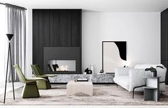 Architecture and Interiors Render Styling Creative Direction Living Room Designs, Living Spaces, Living Area, Loft, Studios, Living Room Goals, Fireplace Design, Interior Design Studio, Apartment Design