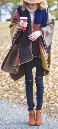 #fall #fashion / cape + booties