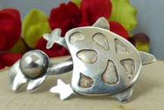 Vintage Sterling Silver Figural 'Turtle' Brooch; 'JS' Makers Mark!! #JMMakersMark