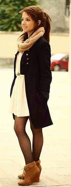 Pea Coat. Beige Scarf. Mud Brown Wedges. Teen Fashion. By-Iheartfashion14♥ →follow←