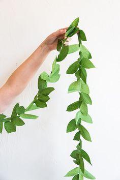 DIY green leaf paper garland More