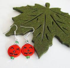 Jack O Lantern Earrings Pumpkin Earrings Orange by BijiJewelry