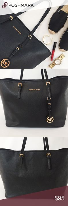 """Michael Kors Jet Set Leather Tote Bag Michael Kors Jet Set Travel Leather Tote Bag in black featuring gold tone hardware.  Carry all your essentials!  Pre-loved but in great condition.  Small white marks on front, see pics.  Strap buckle loose on back, see pic.  No other damage or stains.  Despite minor flaws, still in great condition.  Last pic stock photo, used to show fit.    Measurements: 19"""" W x 11"""" H x 7.25"""" D Handle drop: 8.5"""" Michael Kors Bags"""