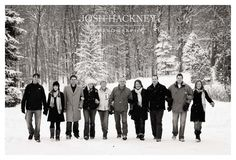family winter snow walking photography- would look great with mom and Dad then all the kids in middle
