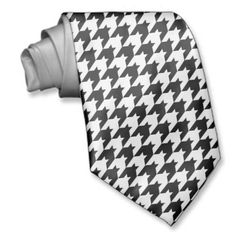 Black/White Houndstooth Stylish Fashion Designer Neckwear