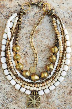 Bone & Brass Shield Necklace: Multi-Strand White Bone, Bronze and Ashanti Shield Pendant Necklace