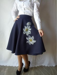 Blue classic skirt with Handpainted flowers.One by DorasDressRoom
