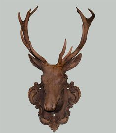 19th Century Life Size Cast Iron Stag Head On Plaque Image 3