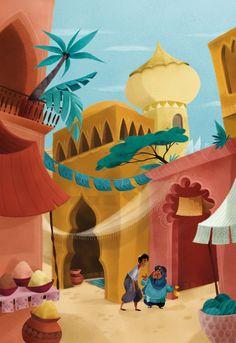 Aladin Arabian Decor, Arabian Art, Bible Illustrations, Art Et Illustration, Wallpaper Ramadhan, Islamic Wallpaper Hd, Art Assignments, Islamic Art Pattern, Indian Art Paintings
