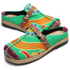Hot-sale Colorful Embroidered Buckle Folkways Backless Loafers For Women - NewChic
