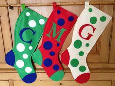 Festive Monogrammed Felt Christmas Stockings by SweetMonica, $12.00