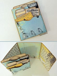 """Triple Library Pocket w/Trifold Flap created by papercrafter45 using """"Steamtown Spring"""" Mini Book digital download from Ephemera's Vintage Garden"""