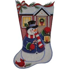 click here to view larger image of Snowman Lantern Stocking - 18ct (hand painted canvases)