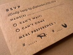 Like the style of the how the meal choices are   shown on this RSVP