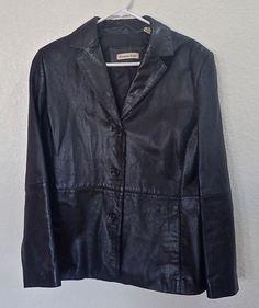 Woman's Black Leather Jacket Amanda Smith Size 14 #AmandaSmith #BasicJacket