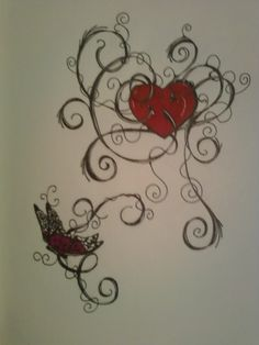 c7cdc0ff094d0 Butterfly Heart Tattoo Design by AllanaVosk on DeviantArt Butterfly Name  Tattoo, Name Tattoos, Heart