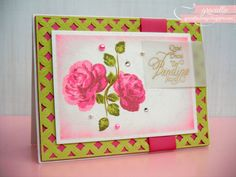 Graciellie Design: Altenew Vintage Roses, multi-step stamping, Spring card, bright Spring, Stampendous Spanish Invite, Spellbinders Diamond Effects