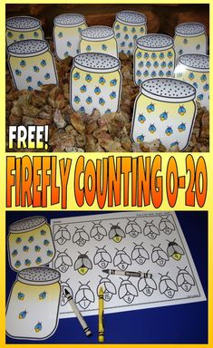 FREE firefly themed count and color center. Counting For kindergarten preschool SPED child care homeschool or any early childhood setting. Preschool Centers, Preschool Themes, Preschool Classroom, Kindergarten Activities, Preschool Activities, Preschool Camping Activities, Insect Activities, Preschool Programs, Montessori Preschool