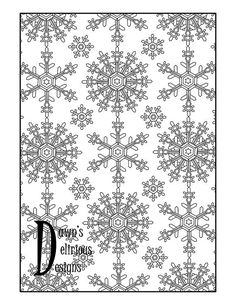 The Snowflake Design 1 Mix Pattern Snowflake Coloring Pages, Snowflake Designs, Pattern Mixing, Snowflakes, Etsy, Stars