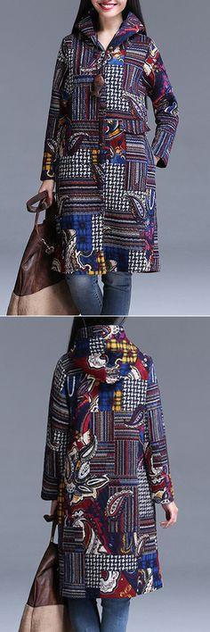 Vintage Women Printed Long Sleeve Single-Breasted Hooded Coats