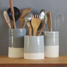 One porcelain utensil holder in your choice of glaze color. Modern kitchen utensil holder handmade b Ceramic Pottery, Ceramic Art, Kitchen Utensil Holder, Kitchen Utensils, Cooking Utensil Holder, Ceramic Utensil Holder, Kitchenware, Tableware, Porcelain Clay
