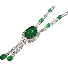 Glass Emerald and Rhinestone Tassel Necklace EXTRAORDINARY - Offered by Ruby Lane shop Premier-Antiques