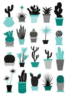Cactuses Art Print by annejeppsson Gravure Illustration, Cactus Illustration, Pattern Illustration, Cactus Drawing, Cactus Art, Cactus Plants, Art Shed, Tableau Design, Illustrator