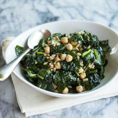 O Faça-Ahead Almoço Receita: Pedacinhos Kale, Farro e Grão de bico Salada