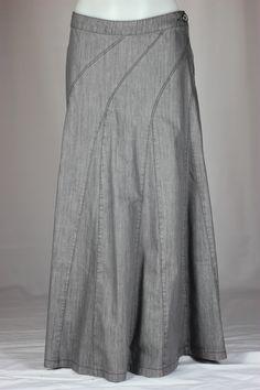 Swinging Gray Long Denim Skirt