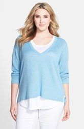 Eileen Fisher Organic Linen Deep V-Neck Top (Plus Size)