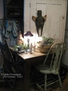The Christmas kitchen scrub table. HighButtonShoe farmhouse.