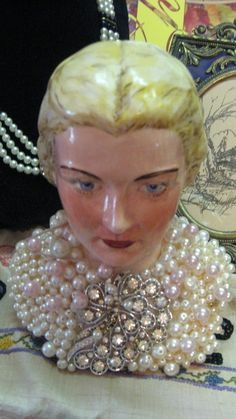 Doll MIXED MEDIA ART CHINA SHOULDER HEAD Blonde DESIGNER EMBELLISHED PEARLS VINTAGE RHINESTONES JEWELRY GORGEOUS ALTERED ART VINTAGE BROOCH HANDPAINTED