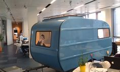 meeting room caravan in office Indoor Camping, Camping Glamping, Audio Visual Installation, Audio Room, Vintage Caravans, Pop Up Shops, Office Interiors, Office Decor, Office Ideas