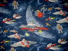 Retro Space Fabric Out of this World Robots by 9PatchBlock on Etsy, $10.00