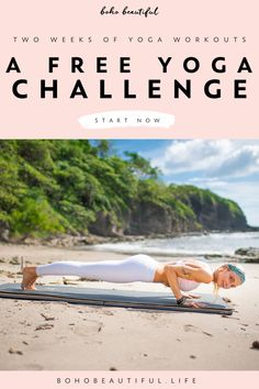 This free challenge is the perfect way to set and smash your 2020 fitness goals, bring in stunning results, and set both you mind and body up for an incredibly successful year | Boho Beautiful Life | Yoga workouts are a perfect fusion of the rhythm, movement, and flow of yoga coming together with the motion, fluidity, and exercise of mat based pilates and fitness exercises. Click to start now #yogaworkout #yogachallenge #fitness #exercise #workout