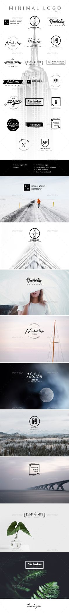 Minimal Logo Vol.1 Features] 100% Resizable, 100% Text is editable, Only free font used, Color is easily changed, The background image preview are not included Web Design, Best Logo Design, Graphic Design, Logan, T Shirt Design Template, Wedding Typography, Hipster Logo, Luxury Logo, Elegant Logo