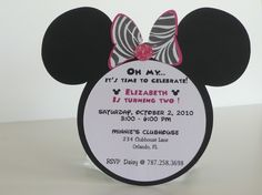 Minnie Mouse Birthday Invitation - Zebra Hot Pink Bow