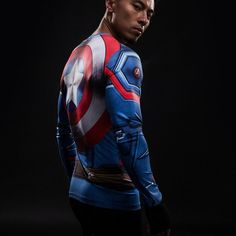 Captain America Long Sleeve Compression Shirt with a shield on the back