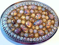 Opal Iridescent Belt Buckle #ladamidesigns #crystal #buckle Belt Buckles, Iridescent, Acai Bowl, Opal, Plates, Crystals, Breakfast, Tableware, Desserts