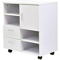 HOMCOM Mobile Storage Cabinet Sideboard Cupboard with Drawers 4 Shelves Lockable Wheels White Cupboard Storage, Storage Shelves, Sideboard Cabinet, Filing Cabinet, Wooden Bookcase, Mobile Storage, Wooden Cabinets, Home Furniture, Drawers