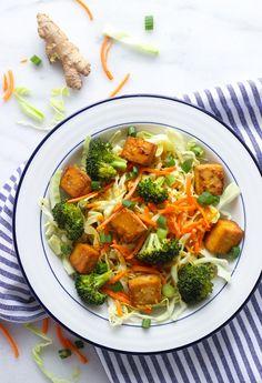 Baked Broccoli Tofu Bowls with Orange Ginger Dressing