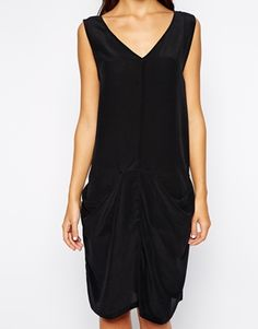 Black midi silk dress with ruched front detail, side pockets by Minimum