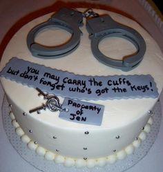 Funny Groomsman cake, police humor, handcuff cake, groom cake, wedding humor, funny wedding ideas themarriedapp.com hearted <3