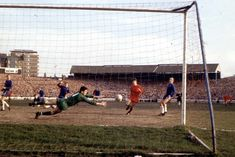 March Chelsea goalkeeper Peter Bonetti diving for the ball against Shrewsbury Town in the FA Cup Round, at Stamford Bridge. Chelsea Football, Chelsea Fc, Peter Bonetti, Shrewsbury Town, Stamford Bridge, School Football, Fa Cup, The Last Time, Big Men