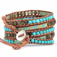 Glass Beads With Labradorite Stones Leather Wrap Bracelets